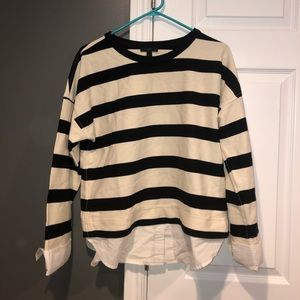 Medium J. Crew striped T with cuffs and collars
